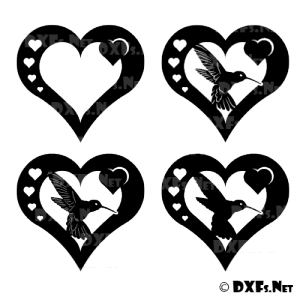 DX171 - Heart Hummingbird Silhouette DXF Design for CNC Cutting
