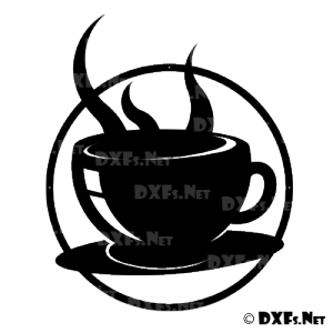 DXF148 - Coffee Cup Silhouette DXF Design for CNC Cutting