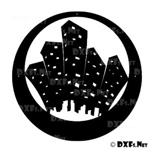 DXF City Scape Silhouette Design file for CNC Cutting