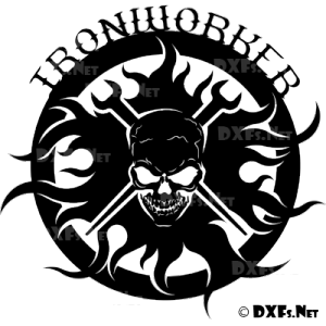 DXF173 - Ironworker Skull Silhouette Design CNC DXF Design for CNC Cutting