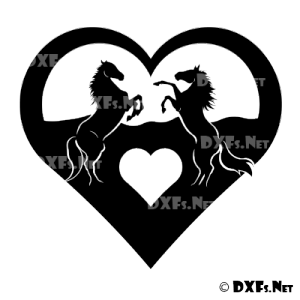 DXF176 - Rearing Love Heart Horses Silhouette Design for CNC Cutting