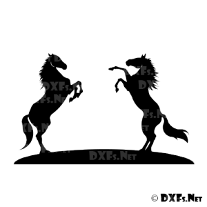 DXF177 - Rearing Horses Silhouette Design for CNC Cutting