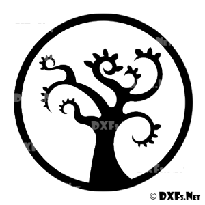 DXF178 - Modern Retro Tree Silhouette Design for CNC Cutting