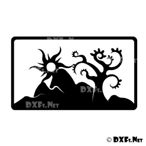 DXF179 - Modern Retro Sun and Tree Design for CNC Cutting