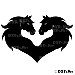 DXF191 - Heart Horse Heads Design for CNC Cutting