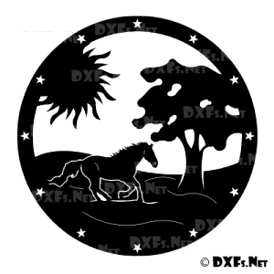 DXF194 - Running Horse with Sun and Tree Design for CNC Cutting
