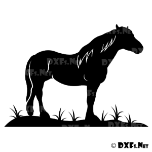 DXF196 - Standing Horse Design for CNC Cutting