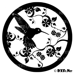 DXF198 - Hummingbird with Flowers Design for CNC Cutting
