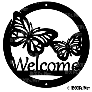 DXF199 - Butterfly Welcome Sign Design for CNC Cutting
