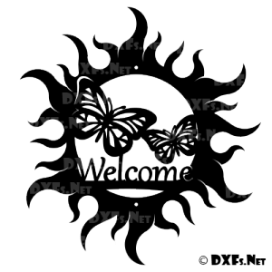 DXF202 - Butterfly Sun Circle Welcome Sign Design for CNC Cutting