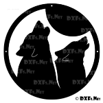 DXF204 - Howling Wolves at Moon Design for CNC Cutting