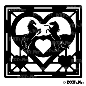DXF209 - Rearing Heart Horse Design for CNC Cutting