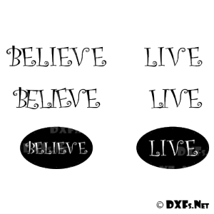 DXF212 - Believe and Live Modern Sign Design for CNC Cutting